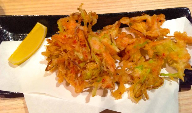 Shinsen yasai tempura - with matchstick veggies and little shrimp.