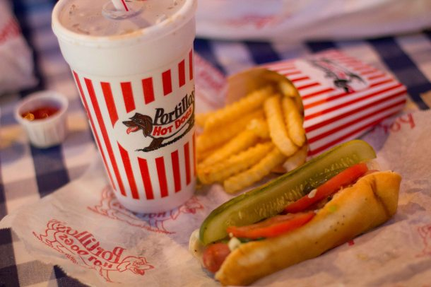 """Portillos Chicago hot dog"""