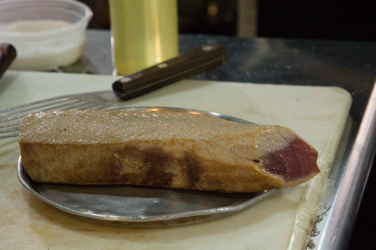 Seared tuna loin resting.