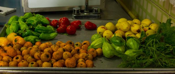 Cleaned produce from the market used in various dishes.