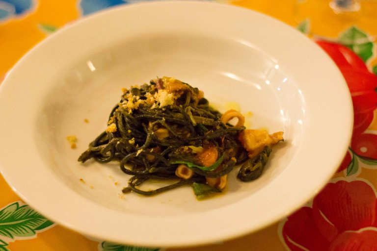 """Oaxaca Origen Castellanos squid ink pasta"""