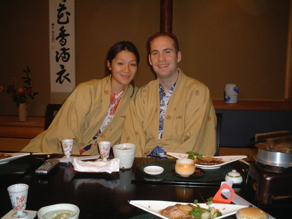 Happily hanging at the onsen in Japan about to eat horse.