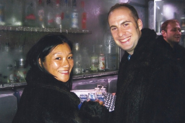 "Decked out in ""fur"" at a chilly vodka bar in Lan Kwai Fong, Hong Kong (2006)"