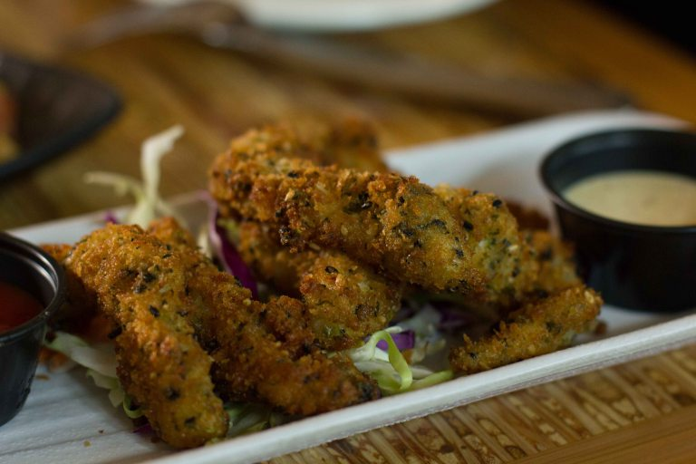 Crispy furikake crusted calamari, Asian slaw