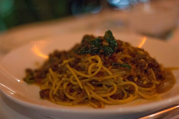 "Bolognese alla ""Moderna"" Spaghetti sautéed in meat sauce with balsamic vinegar."