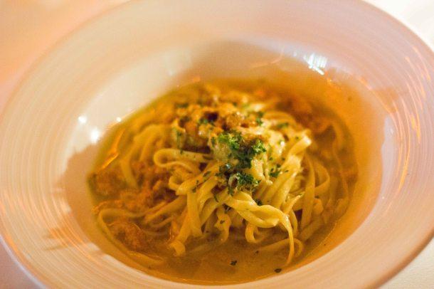 """ea Urchin Pasta """"Ricci di mare"""" Fresh tagliatelle pasta sautéed with fresh sea urchin"""