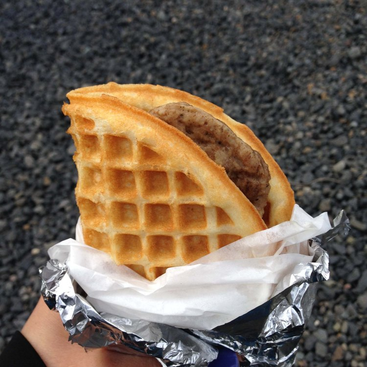 Waffle with sausage & maple bacon butter is another great hangover cure and the perfect road food to start a long drive home.