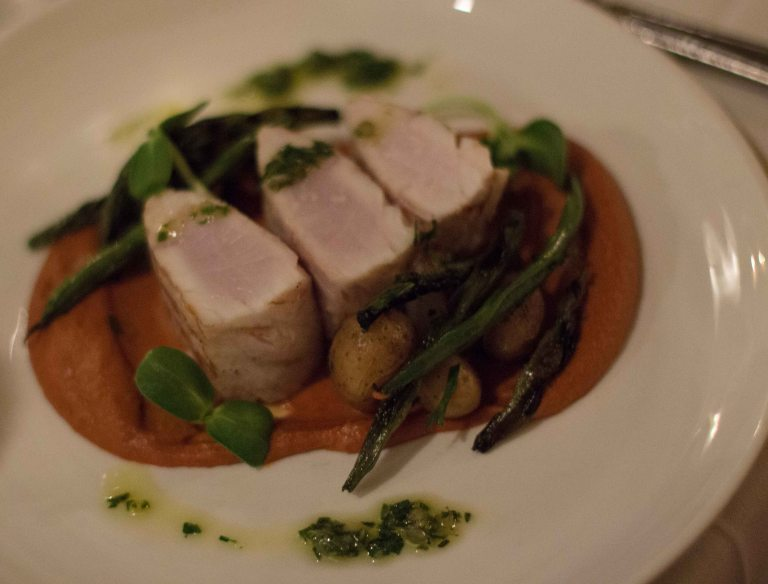 Grilled Cobia with sauce Romesco and early summer vegetables