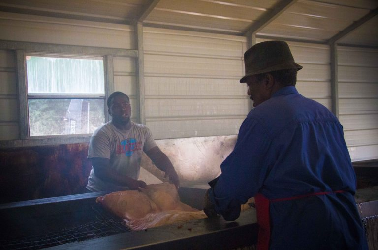 Flipping the hog is a 2-man job.