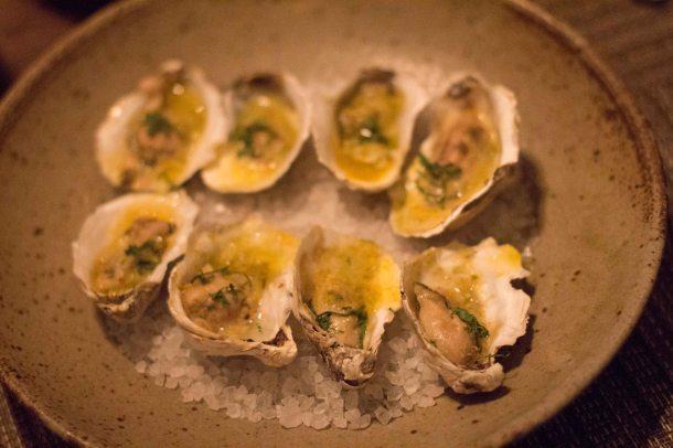 Rappahannock Oysters, Green Garlic Butter, Southern Bottarga, Preserved Lemon