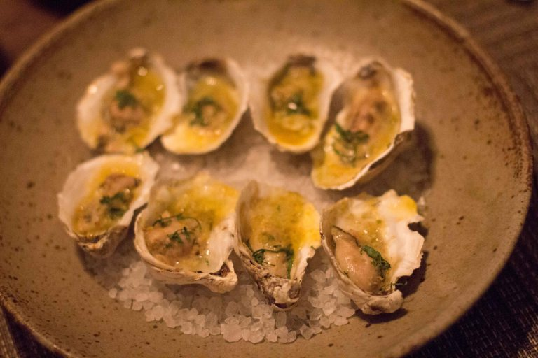 Rappahannock Oysters, Green Garlic Butter, Southern Bottarga, Preserved Lemon