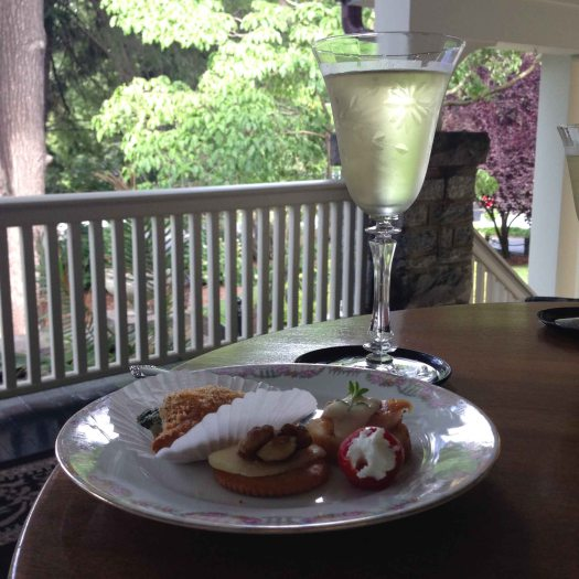Even before I brought my bags to my room, I had a glass of wine poured and a plate full of treats to help me unwind on the porch.