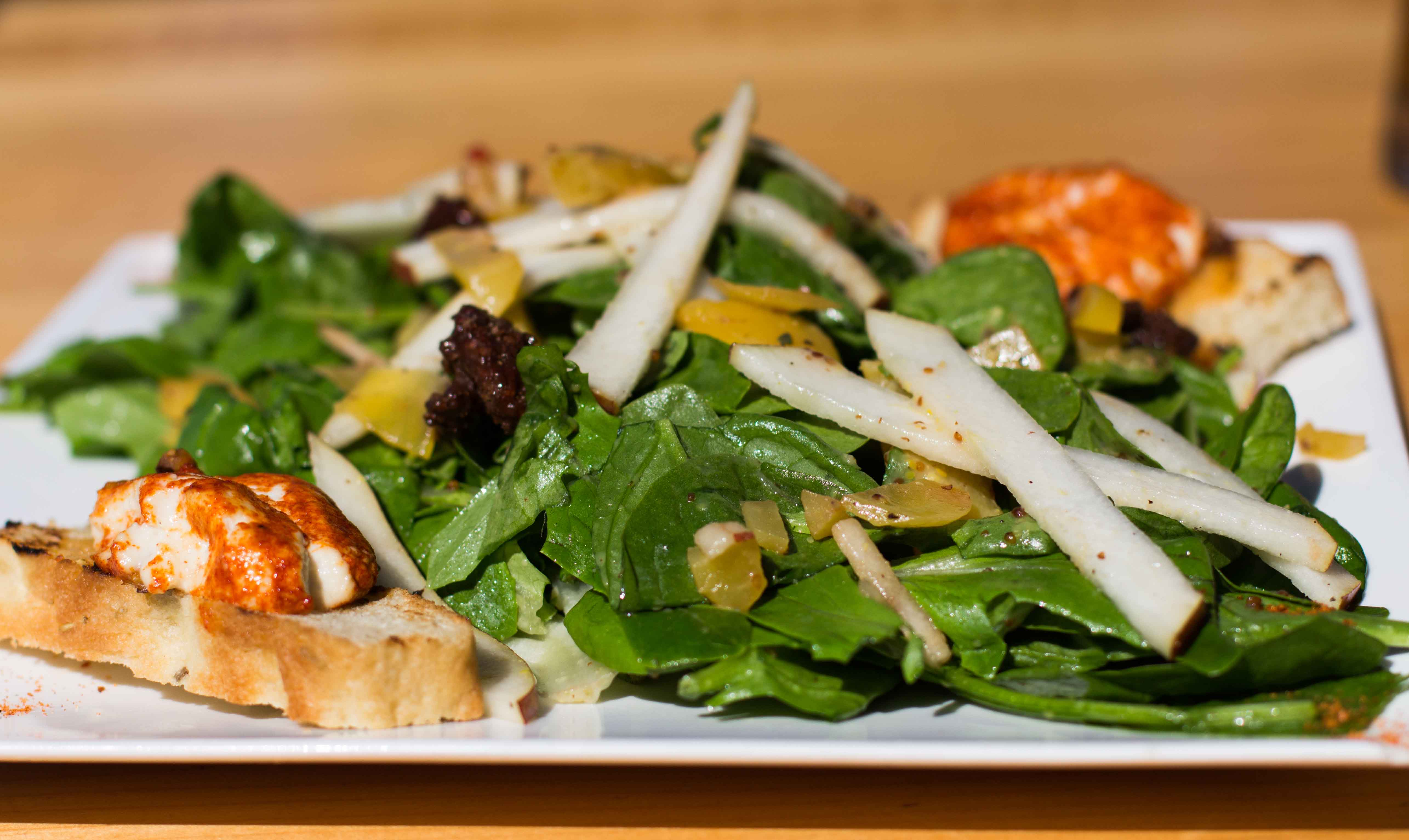 Goat cheese salad with arugula, spinach, mixed greens, Okanagan apple ...