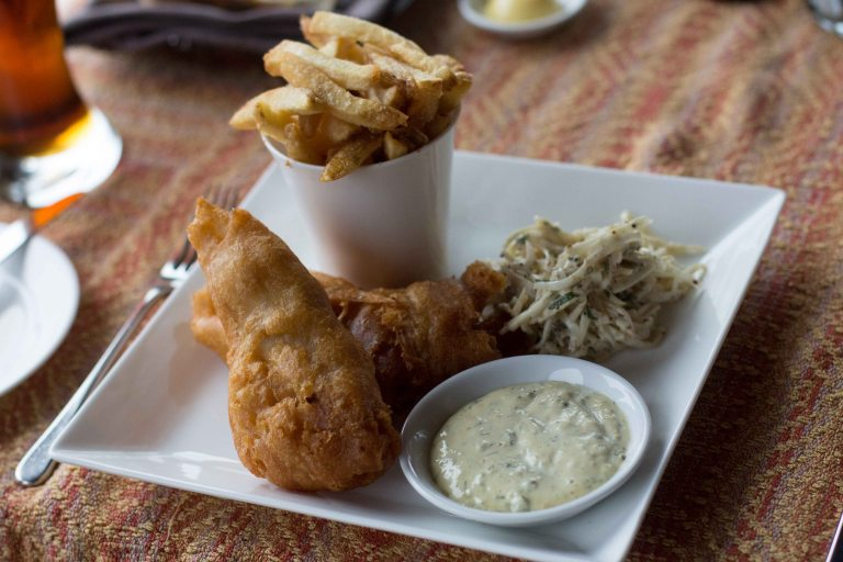 Tofino Fish & Chips with battered cod, celeriac remoulade and tartar sauce