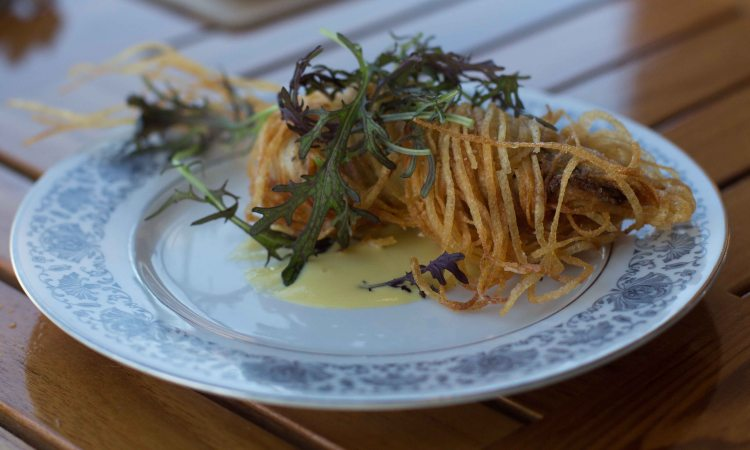 Potato crusted oyster with sweet corn and truffle