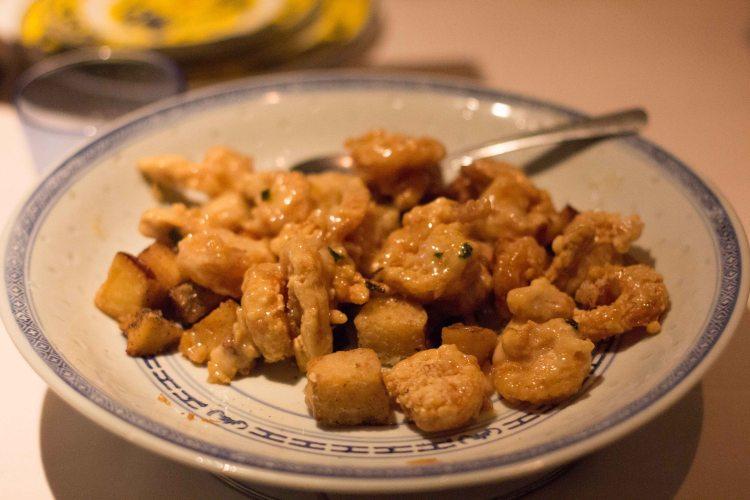 FamousNankingSesameChicken,crispychicken,sweetpotatoes,inHoneyNankingsauce