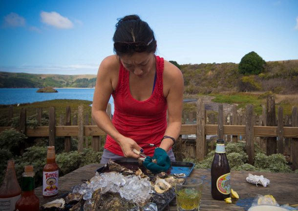 """Hog Island Oyster Marshall shucking"""