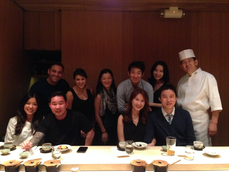 At the end of the meal the group wanted a commemorative photo of the evening. Felt very Japanese.