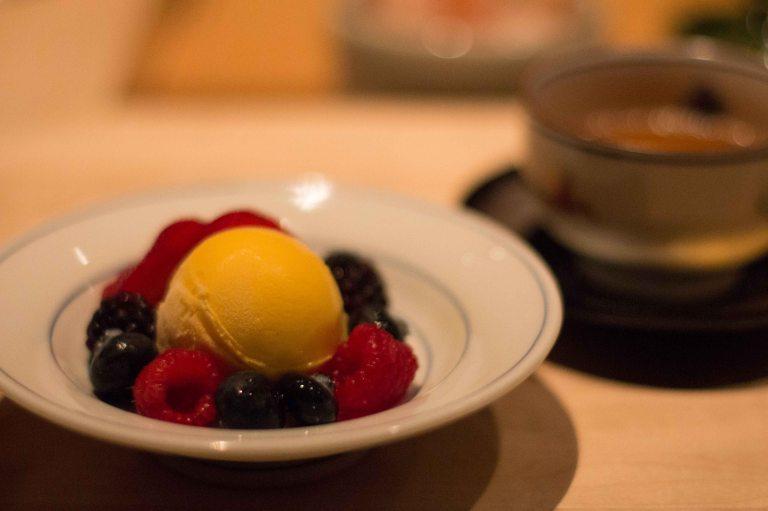 Mango sorbet and Farmer's Market berries