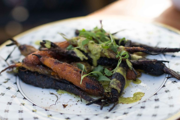 Earthy sweet roasted carrots were topped with a bright green sauce where the cilantro and garlic punched through.