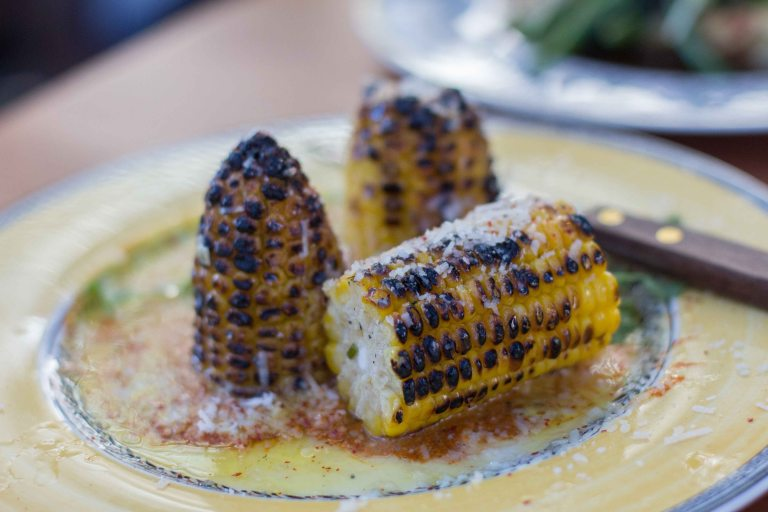 A take on Mexican elote, the grilled corn sitting on top of a yellow and red sauce was my favourite of the day. Some people went to the trouble of cutting the corn off the cob. I didn't but must admit I double/triple dipped my corn back  through the delicious sauces.