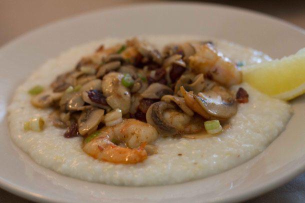 """Charleston Hominy grill shrimp grits"""