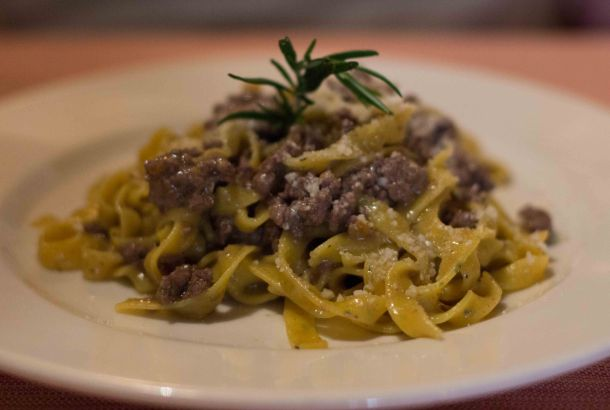 Fettuccine with aromatic herbs and wild boar white ragout