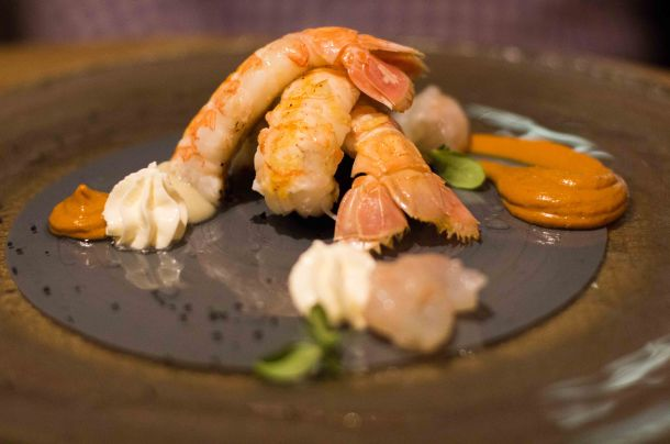 Langoustine roasted with sea urchins, jerusalem artichocke with coal and crème fraiche