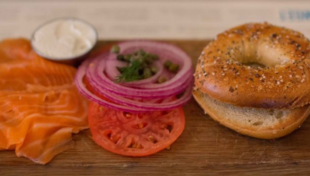 """Russ Daughters Cafe bagel salmon"""