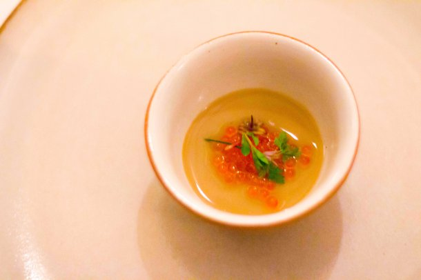 """Eleven Madison Park morel custard trout roe"""