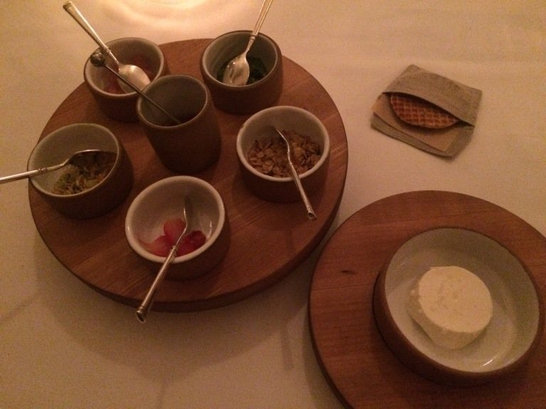 "Farmer's cheese ""sundae"" with honey, rhubarb, sorrel and oats."