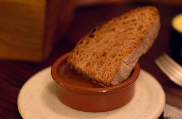 """Willows Inn bread with pan drippings"""