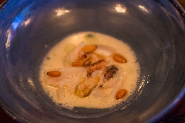 """Willows Inn Lummi Crab pine nuts"""