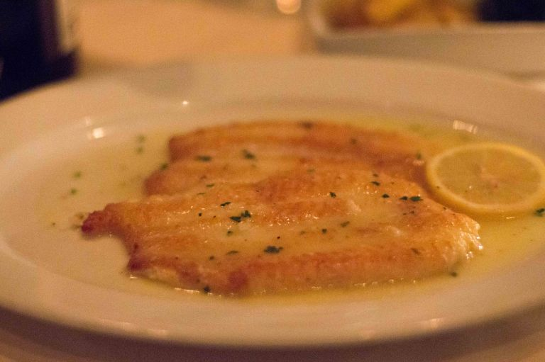 Pan fried Dover sole sautéed in a lemon and butter sauce
