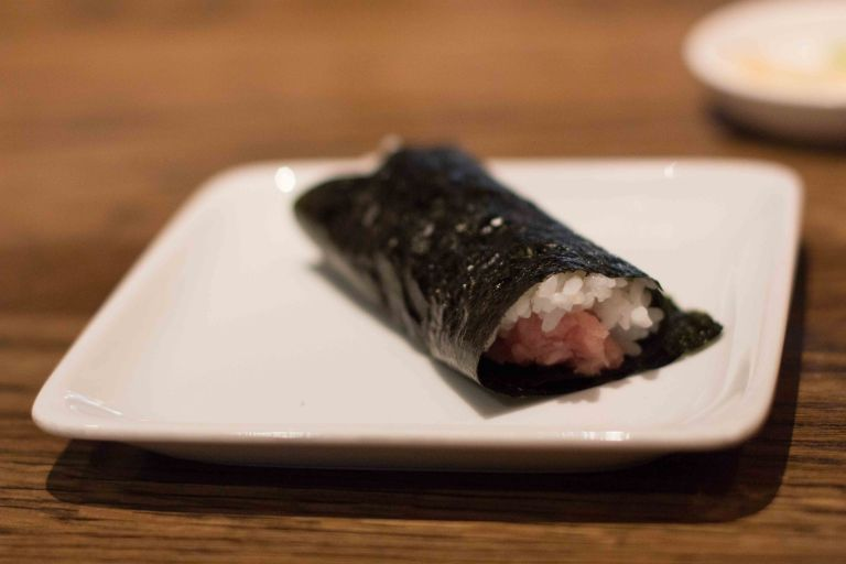 """Sugarfish Beverly Hills tuna hand roll"""