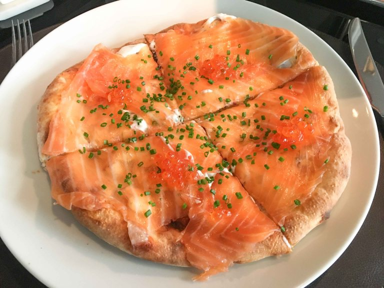Spago LA salmon pizza