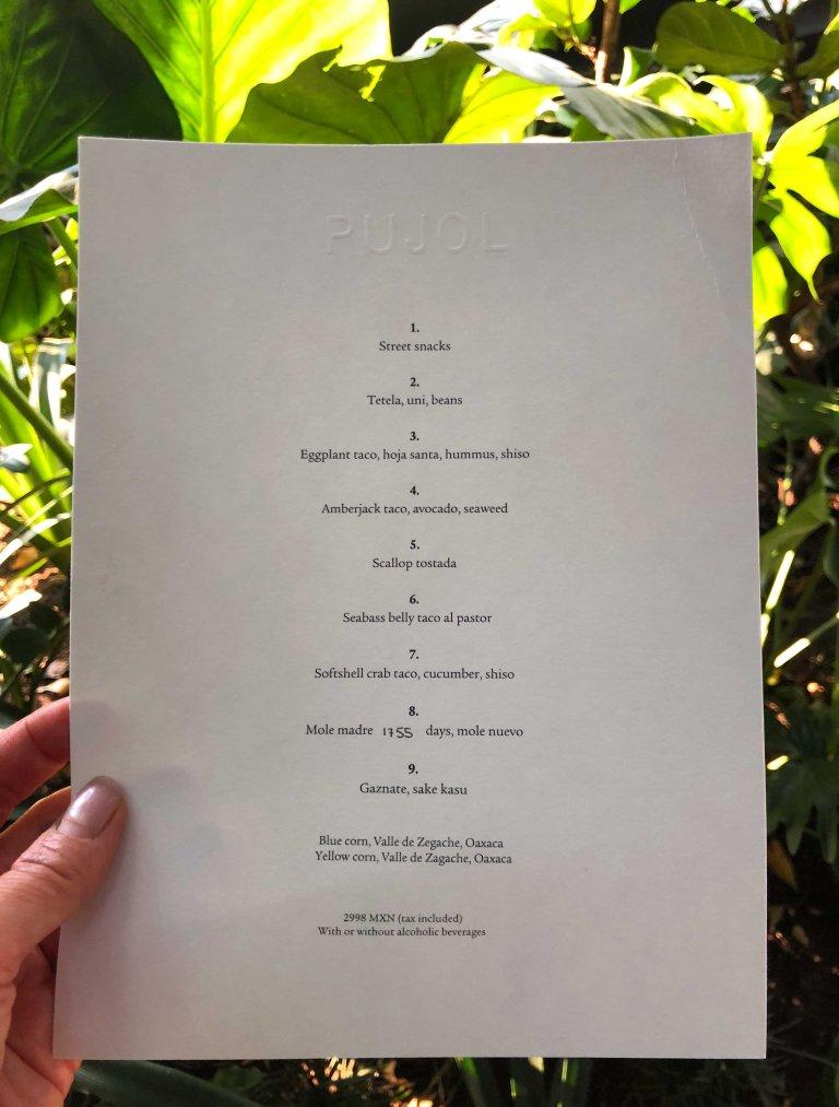 Pujol taco omakase menu